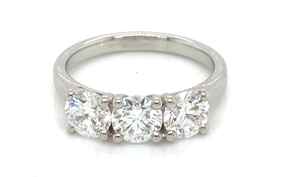 Platinum Three Stone 1.82ct Diamond Engagement Ring