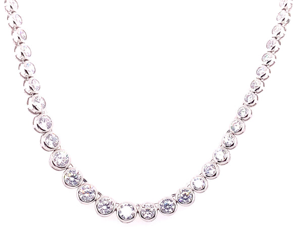 Sterling Silver Cz Graduated Necklace With Rubover Setting
