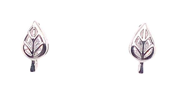 Tipperary Crystal Silver Stud Leaf Earrings