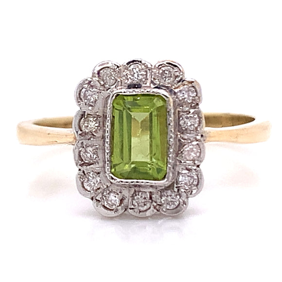 Emerald Peridot with Diamond Cluster