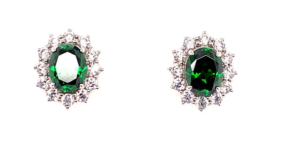 9ct White Gold Princess Di Emerald And Cz Stud Earrings