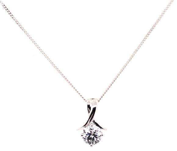 9ct White Gold 6mm Round Cz 7.8mm X 12.5mm Drop Pendant