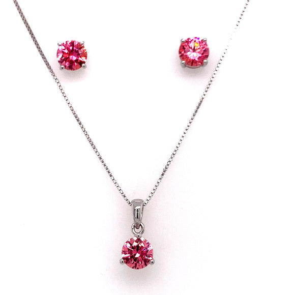 DIAMONDUST JEWELLERY Sterling Silver Classic Pink Pendant & Earrings