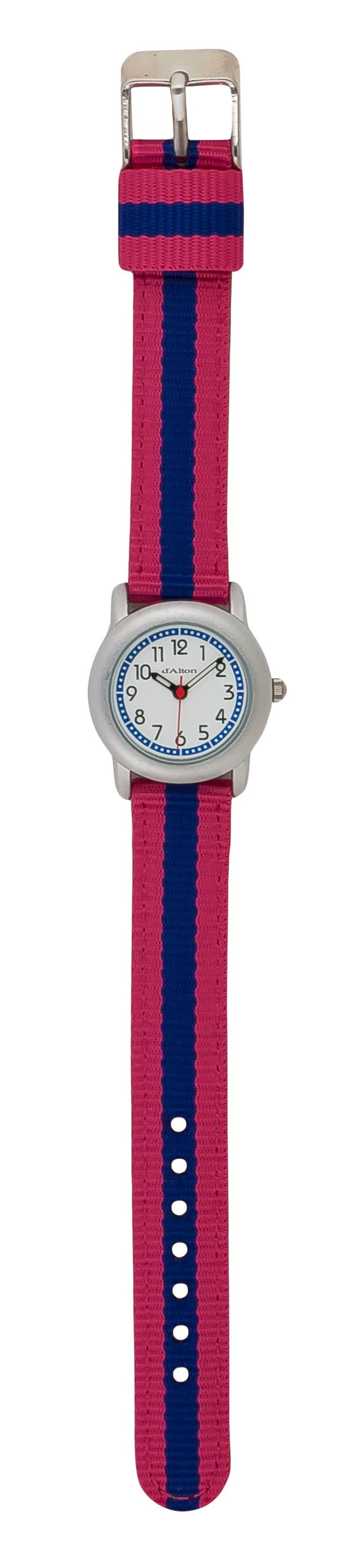 Q & Q Girls Pink And Blue Strip Material Strap Watch