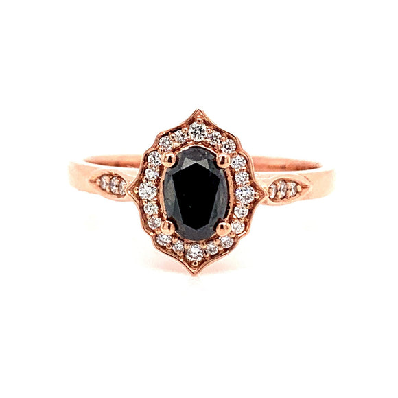 9ct Rose Gold Black Diamond Ring With Ornate Diamond Halo