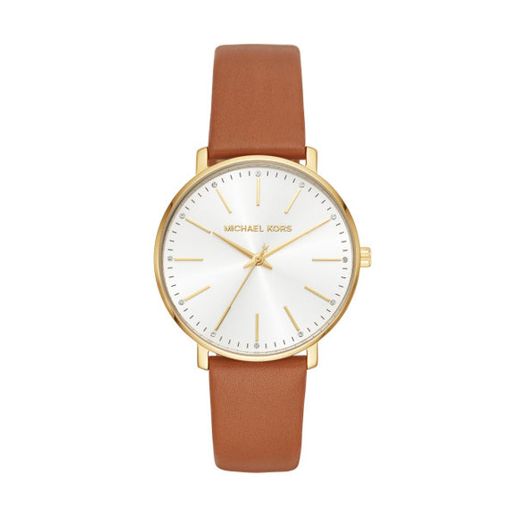 Michael Kors Pyper Brown Leather Strap Ladies Watch