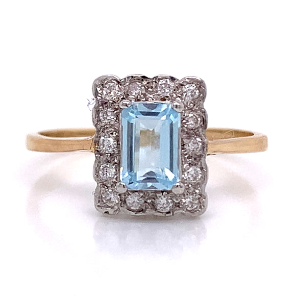 Emerald Cut Topaz Diamond Halo