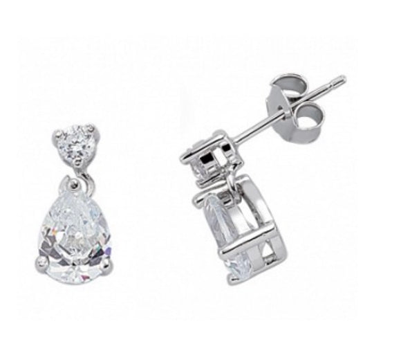 Sterling Silver Round And Pear Drop Cz Earrings