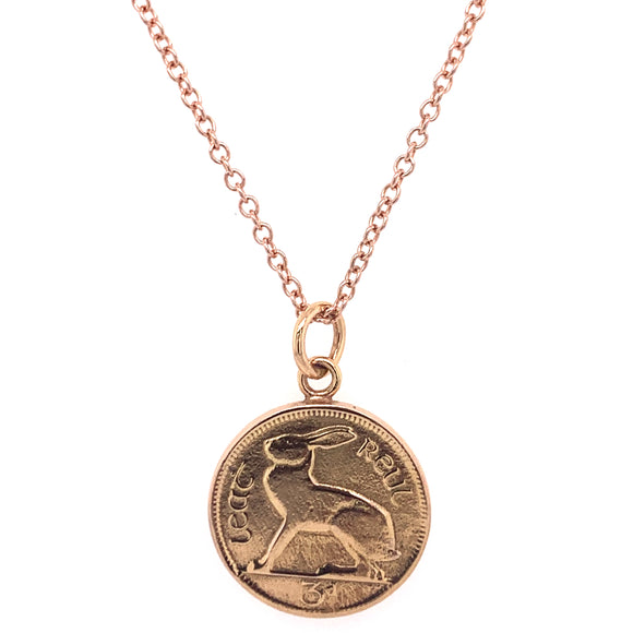 Tadgh Óg Solid 9ct Rose Gold Hare 3 pence Irish Coin Pendant