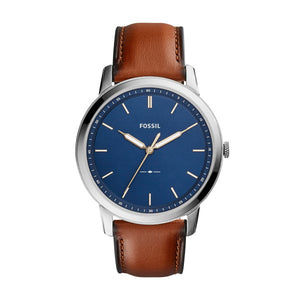 Fossil Minimalist Brown Leather Strap Gents Watch FS5304