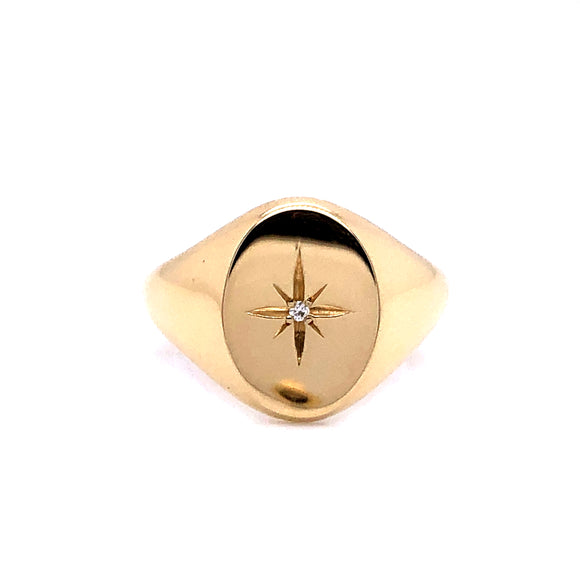 Anma 14ct Gold Oval Signet With Diamond