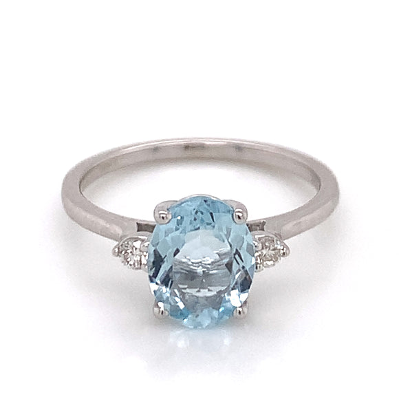 9ct White Gold Oval Aquamarine with Two Side Diamonds Ring