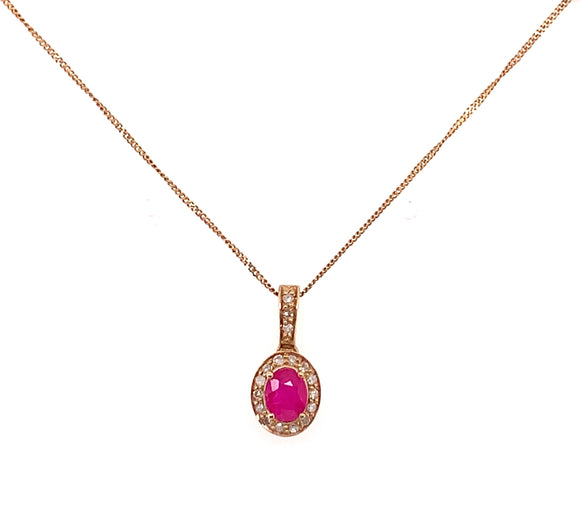 9ct Yellow Gold Ruby And 0.09ct Diamond Halo Necklace