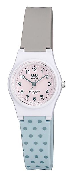 Q & Q Girls Baby Blue And Grey Spotty Strap Watch