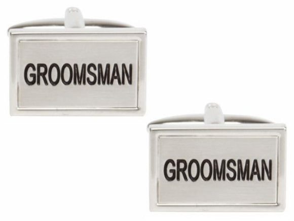 Groomsman Rhodium Plated Cufflinks 90-1465
