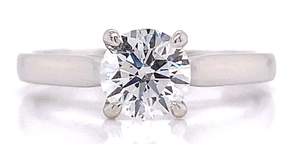Platinum Round Brilliant Solitaire 0.90ct Diamond Engagement Ring