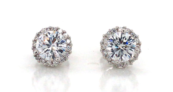 Sterling Silver Cz Solitaire With Cz Edge Earrings