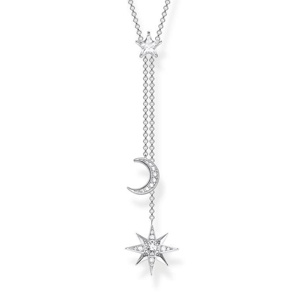 THOMAS SABO NECKLACE STAR & MOON SILVER KE1900-051-14
