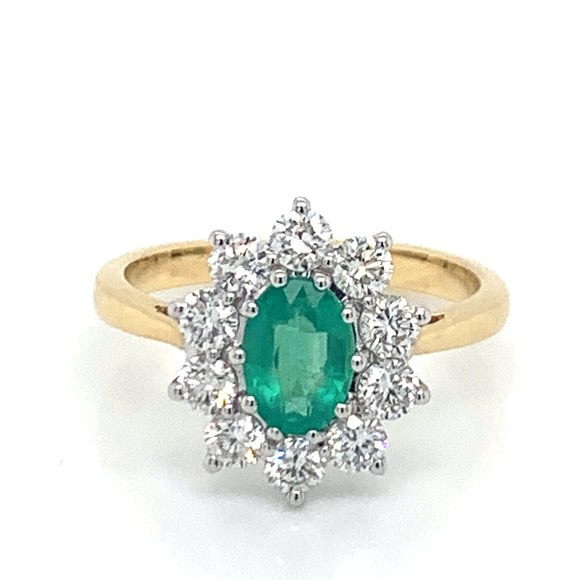 1.12ct Oval Emerald with .75ct Diamond Cluster