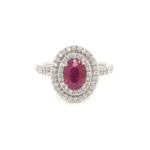 Oval Double halo ruby ring