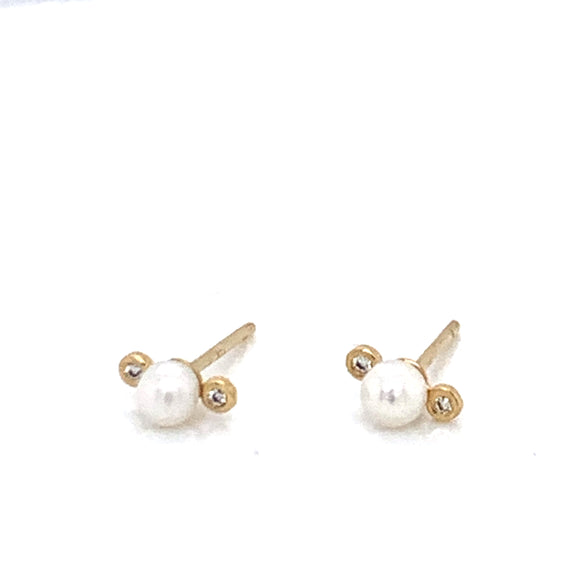 9ct Gold Dainty Pearl with Bezel Set accent PT46430