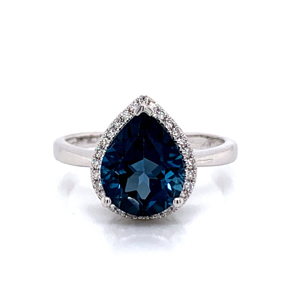 2.50ct London Blue Topaz & White Gold Diamond Ring