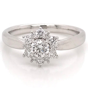 Platinum Round Brilliant Cut Centre Stone with Flower Halo Ring