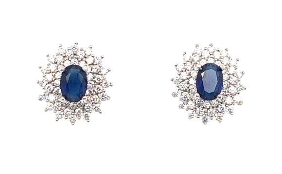 Sterling Silver Sapphire And Cz Double Halo Earrings