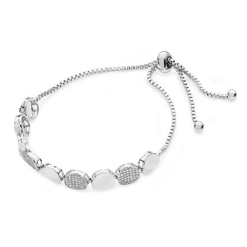 Tipperary Crystal Silver Plain & Pebble Bracelet 109520