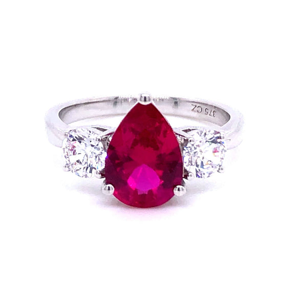 9ct White Gold Cubic Zirconia & Lab Created Ruby Ring