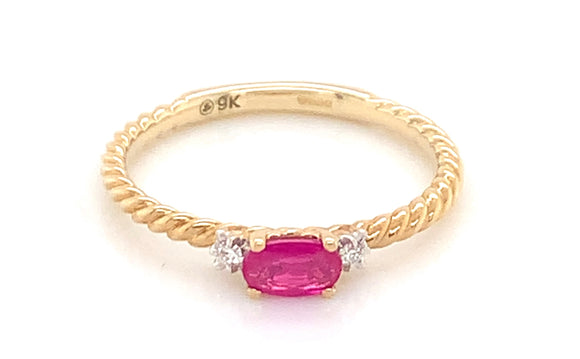 9ct Yellow Gold 0.02ct Diamond And Oval Ruby Twisted Band Ring