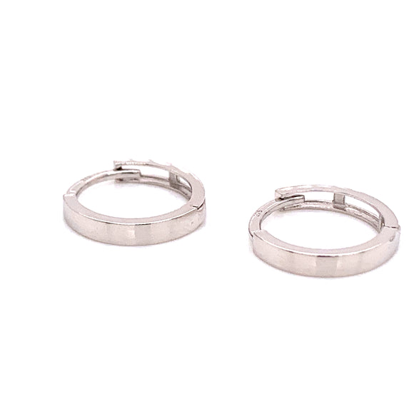9ct White Gold Flat Edge Clicker Hoops