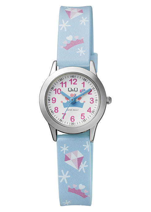 Q & Q Girls Pastel Blue With Diamonds & Crown Pattern Strap