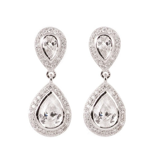 Tipperary Crystal Silver Pear Shape Drop Earrings 123663