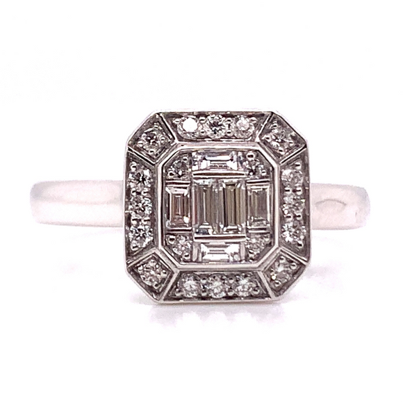 18ct White Gold Emerald Cut Illusion Diamond Engagement Ring
