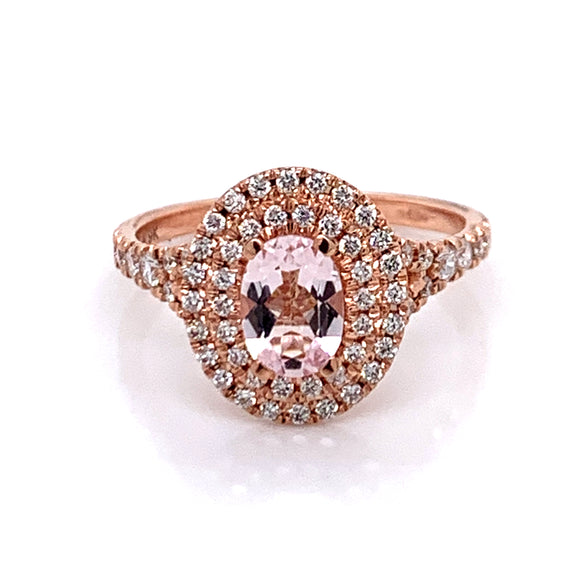 .70ct Oval Morganite and .46ct Diamond Double Halo Ring in Rose Gold