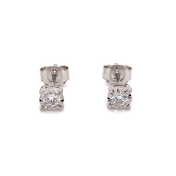 9ct White Gold Diamond Solitaire Earrings