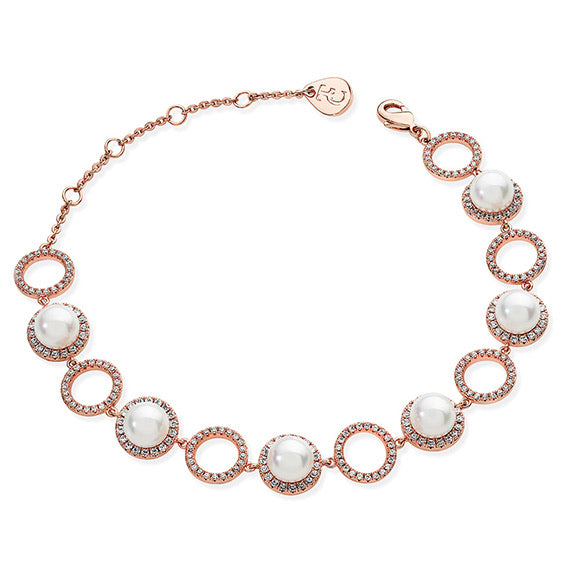 Tipperary Crystal Rose Gold Pace Cz Circle And Pearl Bracelet