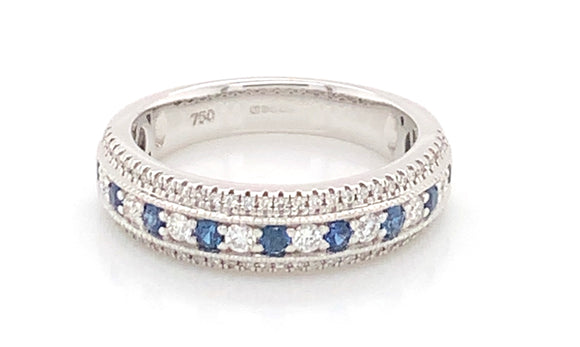 18ct White Gold 0.56ct Diamond And 0.45ct Sapphire Eternity Band
