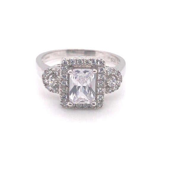 Sterling Silver Emerald Cut Halo with Two Side Stone Cz Ring