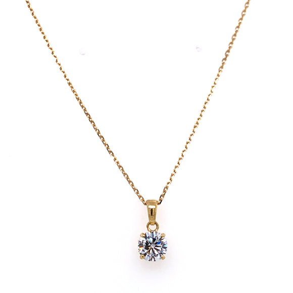9ct Gold Solitaire Pendant with intricate basket.