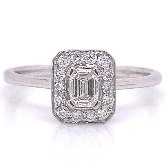 9ct White Gold Emerald Cut Halo Ring