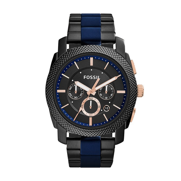 Machine Chronograph Black Dial Two-Tone Bracelet Watch