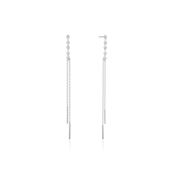 Ania Haie Spike It Up Silver Spike Double Drop Earrings