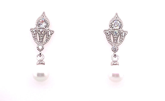 Tipperary Crystal Silver Vintage Style Earrings With Drop Pearl