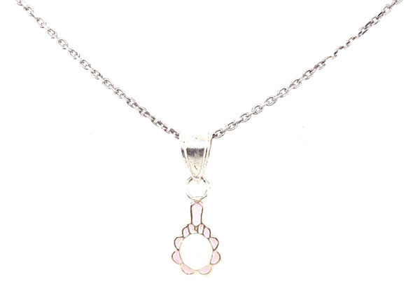 Sterling Silver White And Pink Mirror Pendant