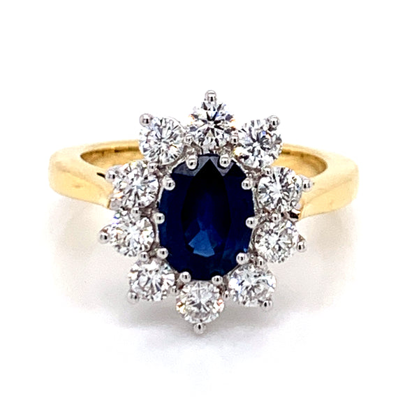1.25ct Sapphire and 1ct Diamond Cluster 18ct Gold Ring