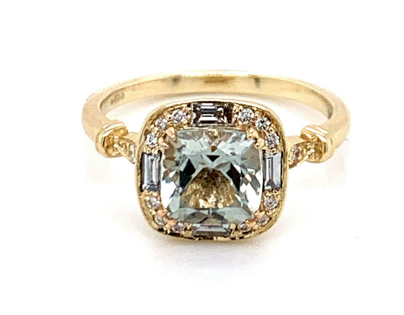 1.40ct Cushion Cut Green Amethyst with Baguette and Round Brilliant Diamonds .25ct Vintage Style Halo with Side Detail