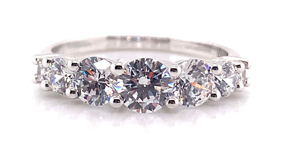 9ct White 7 Stone CZ Eternity Ring