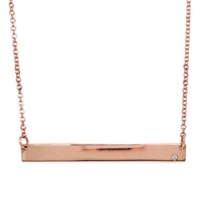Tadgh Òg 45mm Balance Bar 9ct Rose Gold with Diamond Pendant
